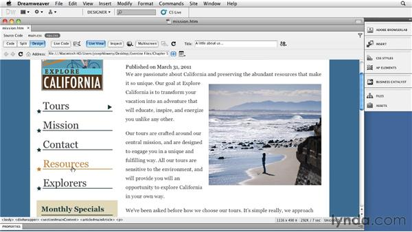 Looking at the project: Site Navigation with CSS in Dreamweaver