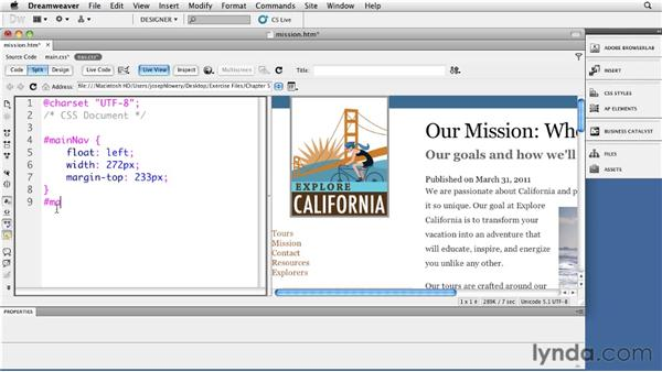 Defining width for link elements: Site Navigation with CSS in Dreamweaver