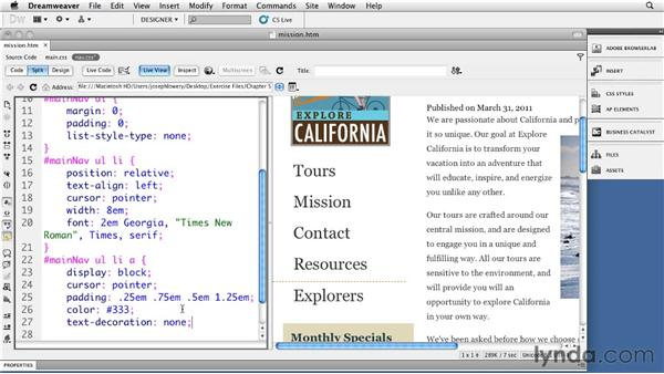 Using background graphics with navigation: Site Navigation with CSS in Dreamweaver
