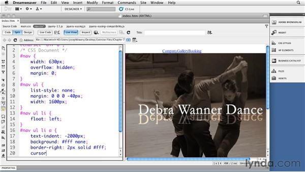 Creating jQuery animated image menus: Site Navigation with CSS in Dreamweaver