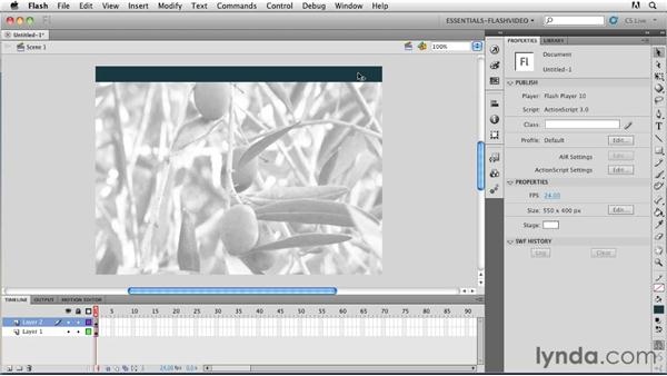 Creating a new FLA file in Flash Professional CS5: Publishing Video with the Flash Platform