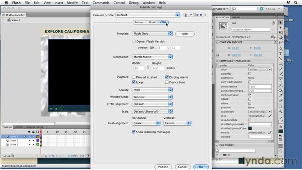 Exporting the video player SWF file: Publishing Video with the Flash Platform