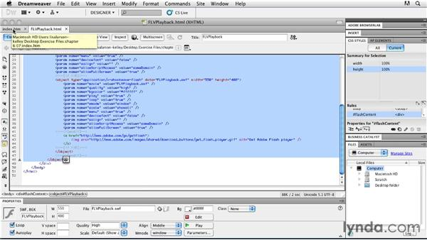 Embedding and testing the video player in your web site: Publishing Video with the Flash Platform