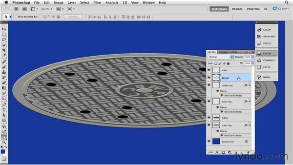 Creating a manhole cover with channels: Bert Monroy: The Making of Times Square, The Tools