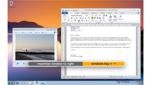 Organizing windows on one half of your desktop: Windows 7 Tips and Tricks