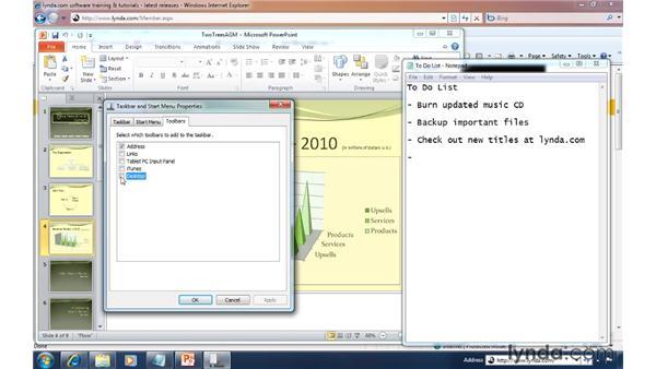 Putting desktop access on the taskbar: Windows 7 Tips and Tricks