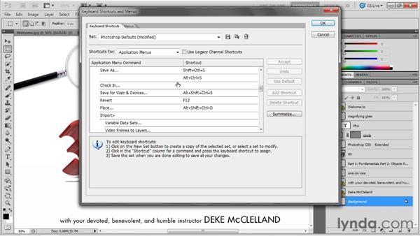 Installing the dekeKeys keyboard shortcuts: Photoshop CS5 Extended One-on-One: 3D Fundamentals