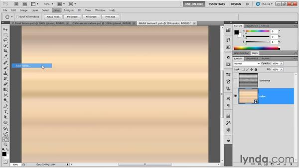 Editing a diffuse texture: Photoshop CS5 Extended One-on-One: 3D Fundamentals