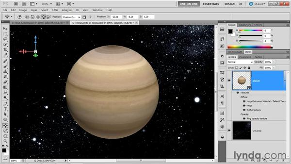 Merging two 3D layers into one: Photoshop CS5 Extended One-on-One: 3D Fundamentals