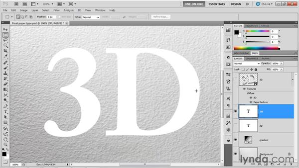 The special considerations of 3D type: Photoshop CS5 Extended One-on-One: 3D Fundamentals