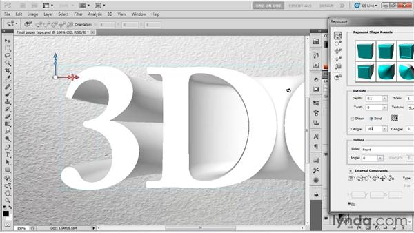 Using the Repoussé dialog box: Photoshop CS5 Extended One-on-One: 3D Fundamentals