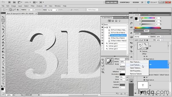 Assign textures to surfaces: Photoshop CS5 Extended One-on-One: 3D Fundamentals