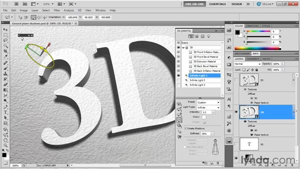 Adjusting and loading lights: Photoshop CS5 Extended One-on-One: 3D Fundamentals