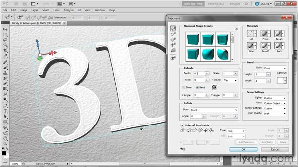 Adding a custom-contoured bevel: Photoshop CS5 Extended One-on-One: 3D Fundamentals