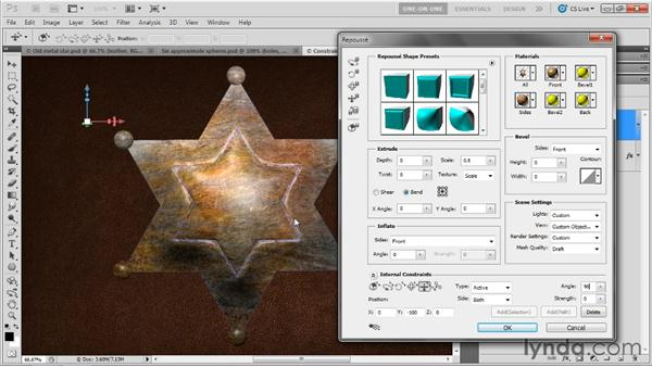 Adding an active constraint: Photoshop CS5 Extended One-on-One: 3D Fundamentals