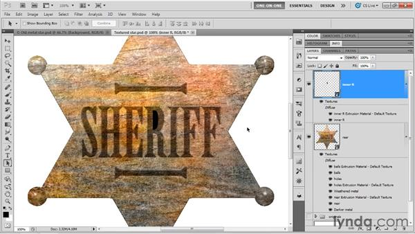 Fixing texture and bevel: Photoshop CS5 Extended One-on-One: 3D Fundamentals