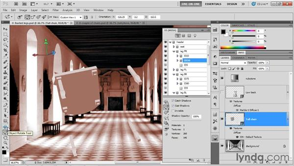 Repositioning independent meshes: Photoshop CS5 Extended One-on-One: 3D Fundamentals