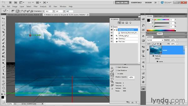 Setting orientation and position: Photoshop CS5 Extended One-on-One: 3D Fundamentals