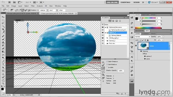 Moving a sphere into a panorama: Photoshop CS5 Extended One-on-One: 3D Fundamentals