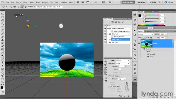 Adding and positioning a point light: Photoshop CS5 Extended One-on-One: 3D Fundamentals