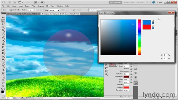 Modifying the attributes of a material: Photoshop CS5 Extended One-on-One: 3D Fundamentals