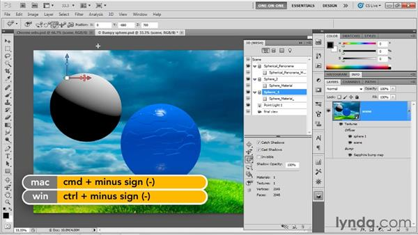Adding precisely symmetrical spheres: Photoshop CS5 Extended One-on-One: 3D Fundamentals
