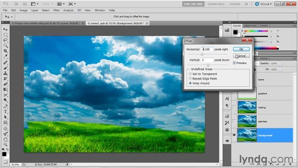 Resolving seams in a 3D panorama: Photoshop CS5 Extended One-on-One: 3D Fundamentals