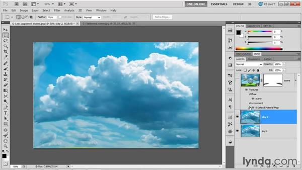 Masking aberrant shadows and adding contrast: Photoshop CS5 Extended One-on-One: 3D Fundamentals