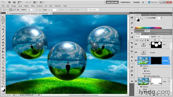 Touching up 3D shadows: Photoshop CS5 Extended One-on-One: 3D Fundamentals