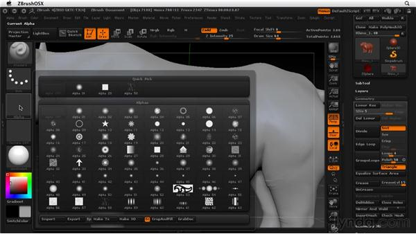 Working with alphas: ZBrush 4 Essential Training