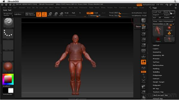 Working with tools and projects: ZBrush 4 Essential Training