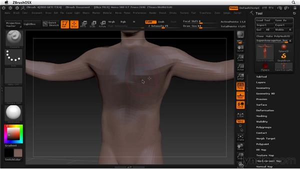 Masking off parts of your model: ZBrush 4 Essential Training