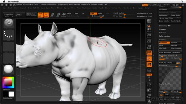 Masking based on cavity and occlusion: ZBrush 4 Essential Training