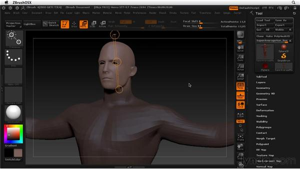 Moving, scaling, and rotating with Transpose: ZBrush 4 Essential Training