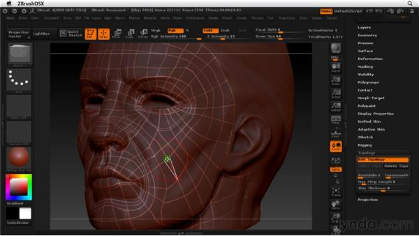 Creating new topology: ZBrush 4 Essential Training