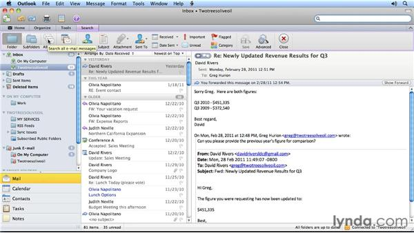 Searching for content across multiple items: Outlook for Mac 2011 Power Shortcuts
