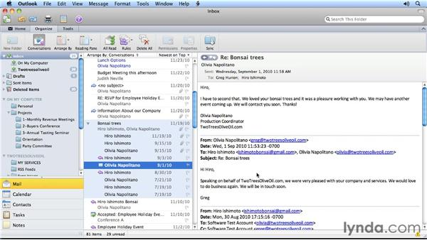 Tracking messages with conversation view: Outlook for Mac 2011 Power Shortcuts