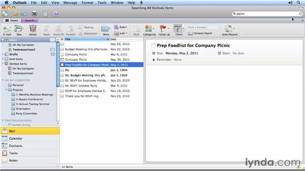 Two ways to find the right email quickly: Outlook for Mac 2011 Power Shortcuts
