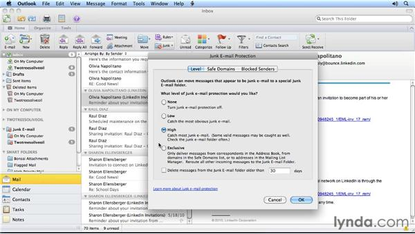 Automating junk email protection: Outlook for Mac 2011 Power Shortcuts