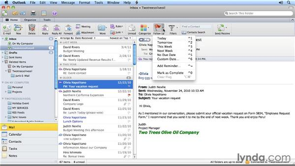 Reminding yourself to follow up on a message: Outlook for Mac 2011 Power Shortcuts