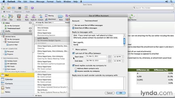 Setting up an out-of-office notification: Outlook for Mac 2011 Power Shortcuts