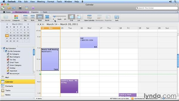 Changing the time scale: Outlook for Mac 2011 Power Shortcuts