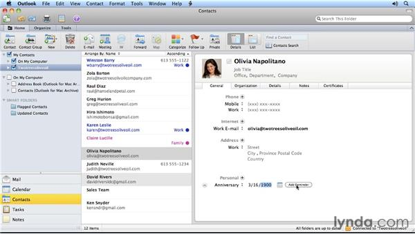 Keeping track of anniversaries: Outlook for Mac 2011 Power Shortcuts