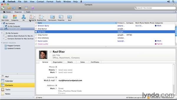 Three ways to view a contacts list: Outlook for Mac 2011 Power Shortcuts