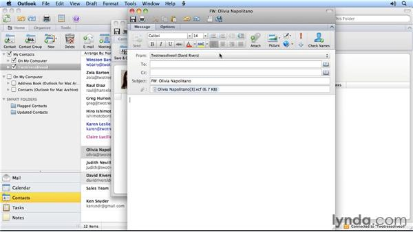 Forwarding contact information: Outlook for Mac 2011 Power Shortcuts