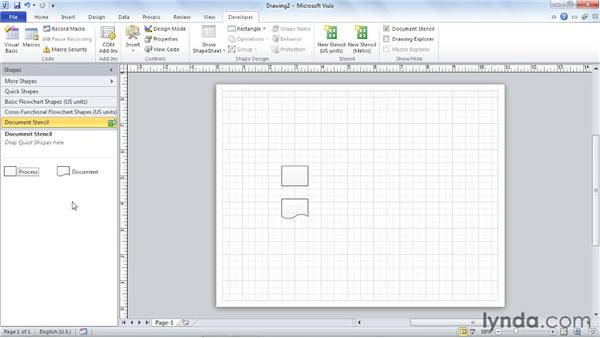 Dropping a SmartShape from a stencil: Visio 2010 Essential Training