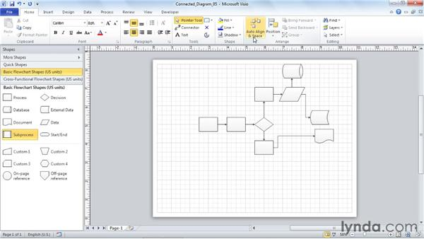 Using Auto Align and Space to organize SmartShapes : Visio 2010 Essential Training