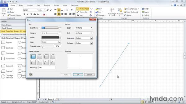 Formatting shape lines: Visio 2010 Essential Training