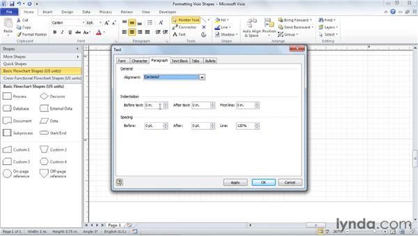 Formatting shape text: Visio 2010 Essential Training