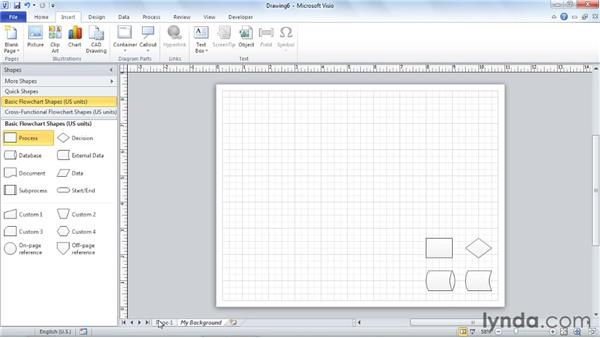 Inserting foreground and background pages: Visio 2010 Essential Training